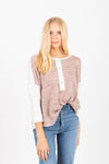 The Anika Button Henley Blouse in Mauve