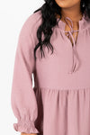 The Walsh Tiered Mini Dress in Mauve, studio shoot; front view