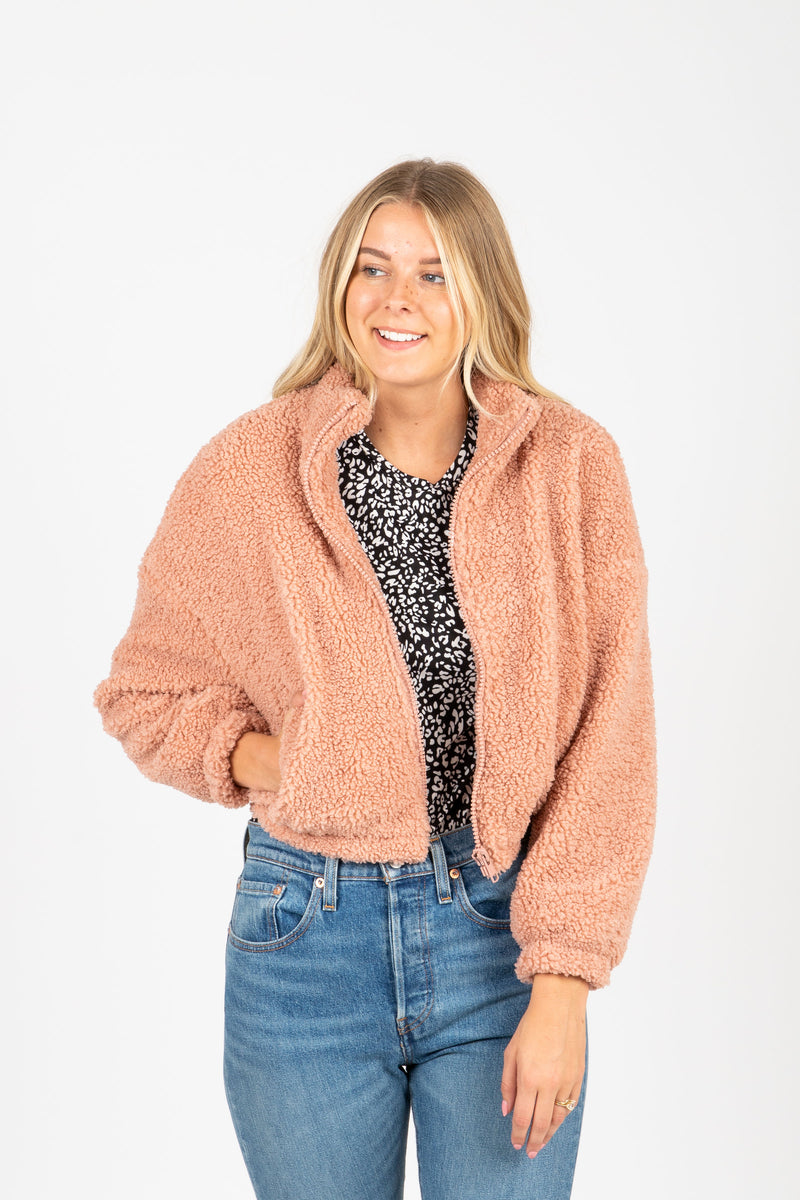 The Sims Sherpa Jacket in Rose, studio shoot; front view