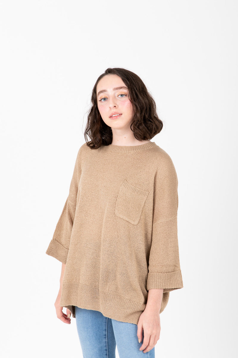 The Millan Pocket Casual Knit in Light Camel, studio shoot; front view