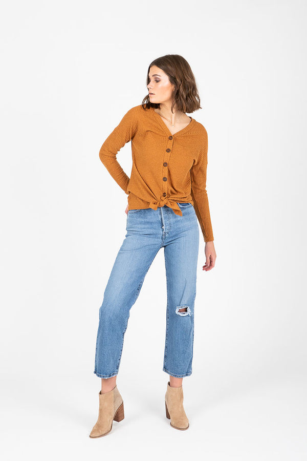 The Moraine Ribbed Tie Front Blouse in Camel