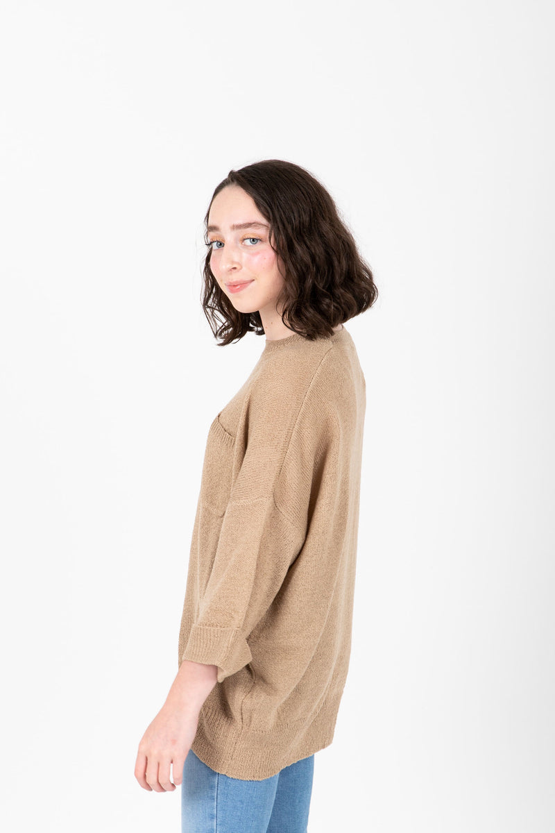 The Millan Pocket Casual Knit in Light Camel, studio shoot; side view