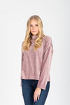 The Coretta Ribbed Velvet Mock Neck in Rose, studio shoot; front view