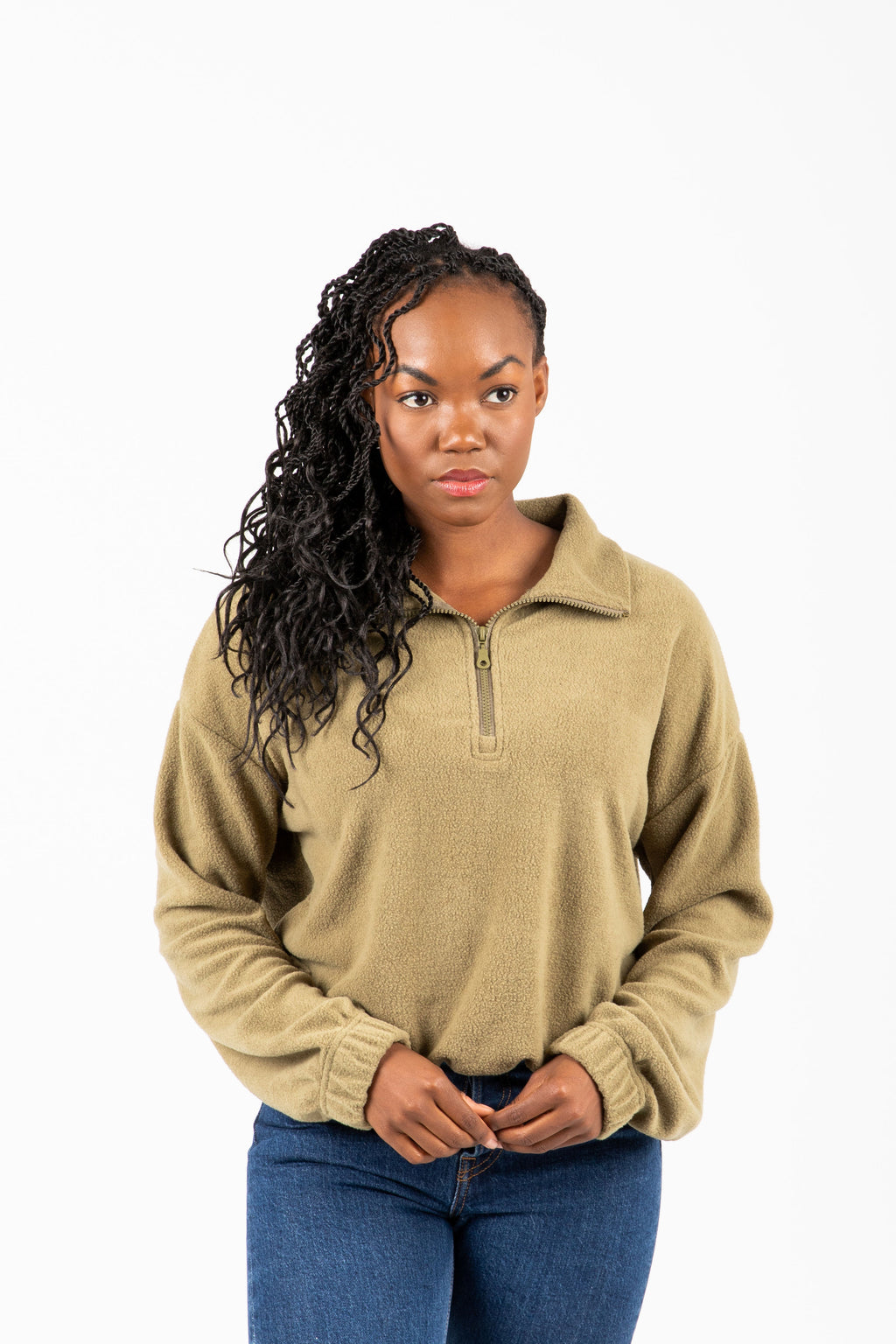 The Meisle Cozy Half Zip in Olive, studio shoot; front view