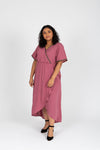 Piper & Scoot: The Presley Detail Wrap Dress in Deep Mauve