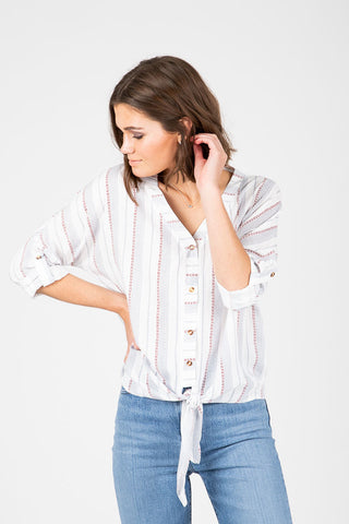 The Seymour Dot Button Up Blouse in White
