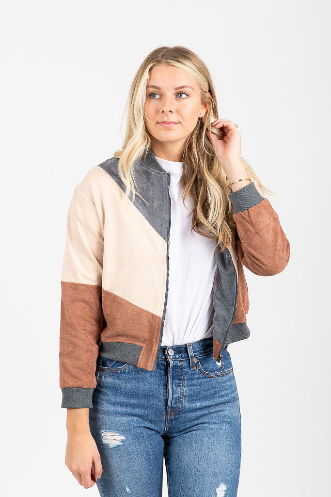 The Chevron Striped Bomber in Mauve