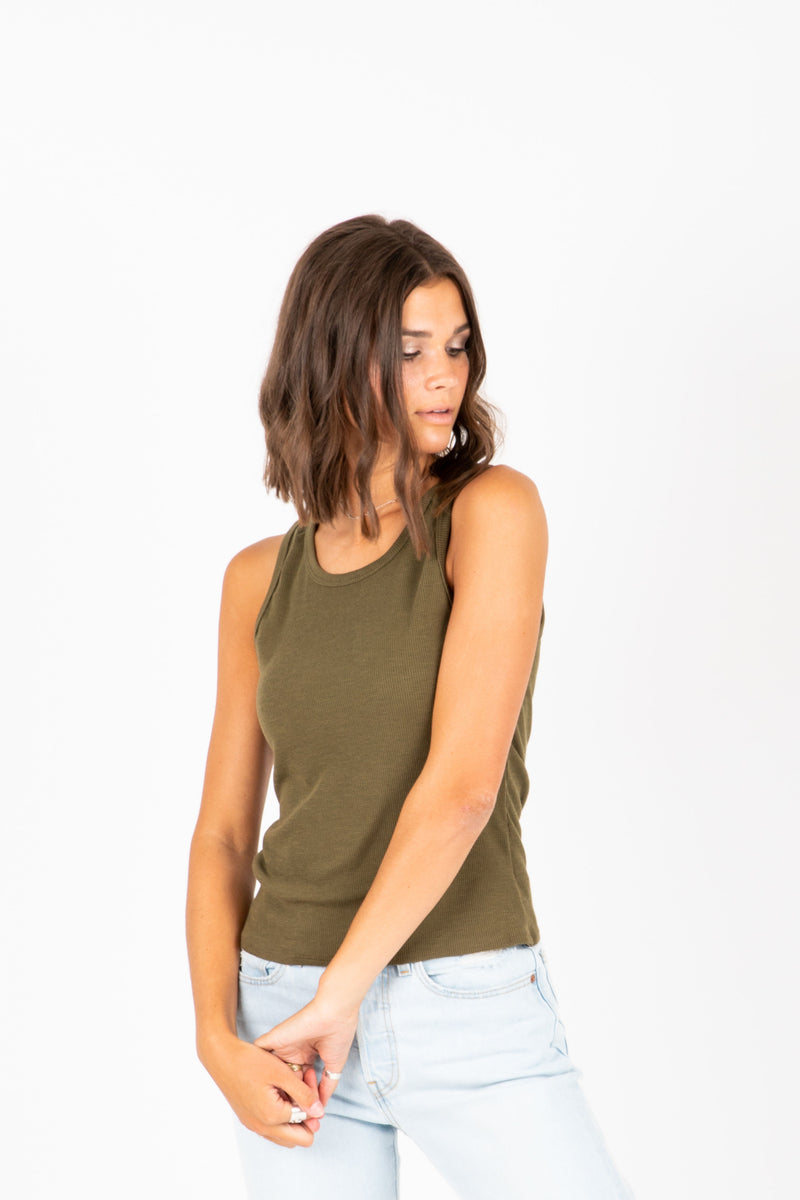 The Keala Ribbed Tank in Olive, studio shoot; front view