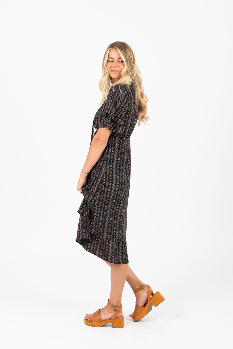 Piper & Scoot: The Milo Pattern Tier Dress in Black