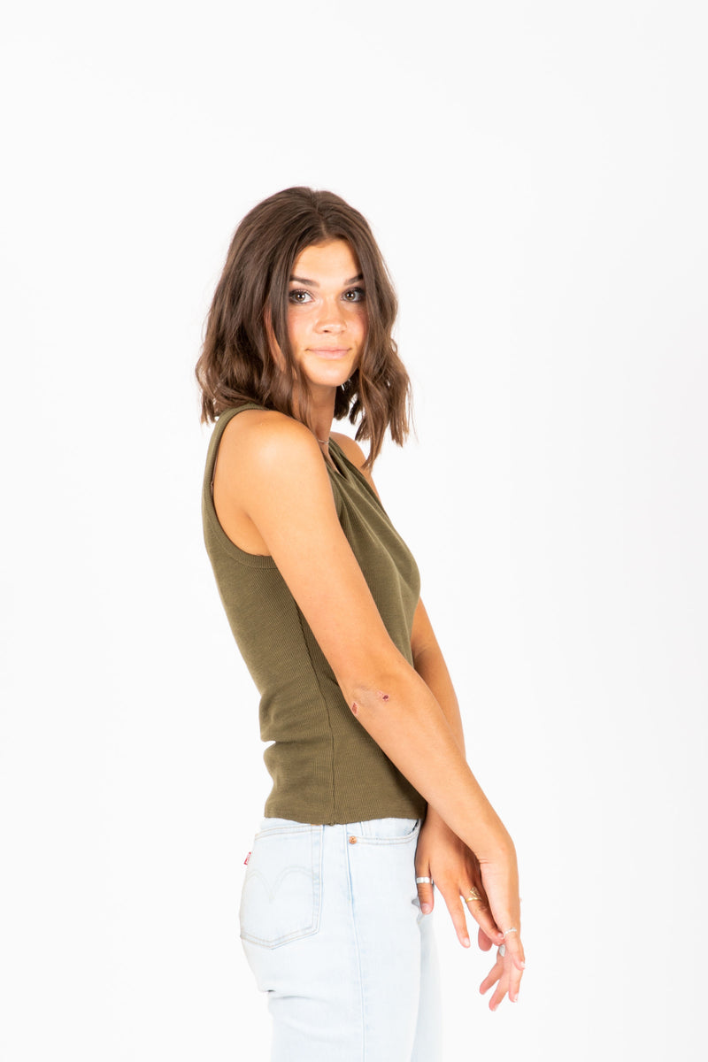 The Keala Ribbed Tank in Olive, studio shoot; side view