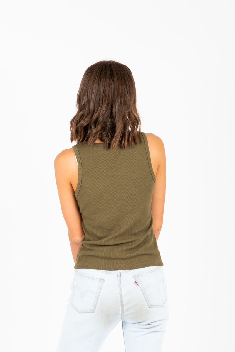 The Keala Ribbed Tank in Olive, studio shoot; back view
