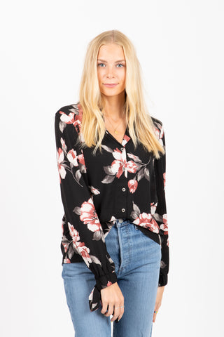 The Siesta Ruffle Sleeve Blouse in Black