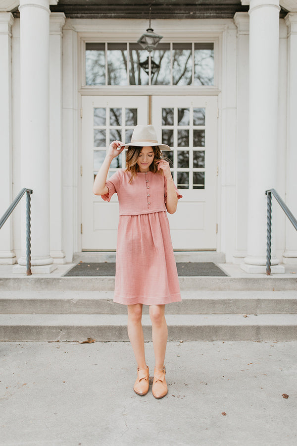 Piper & Scoot: Peasant Dress in Rosy Mauve