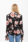 The Stanza Floral Tie Sleeve Blouse in Black