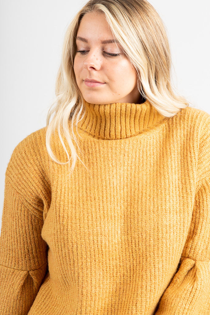 The Blair Flare Sleeve Turtleneck Sweater In Mustard Piper Scoot