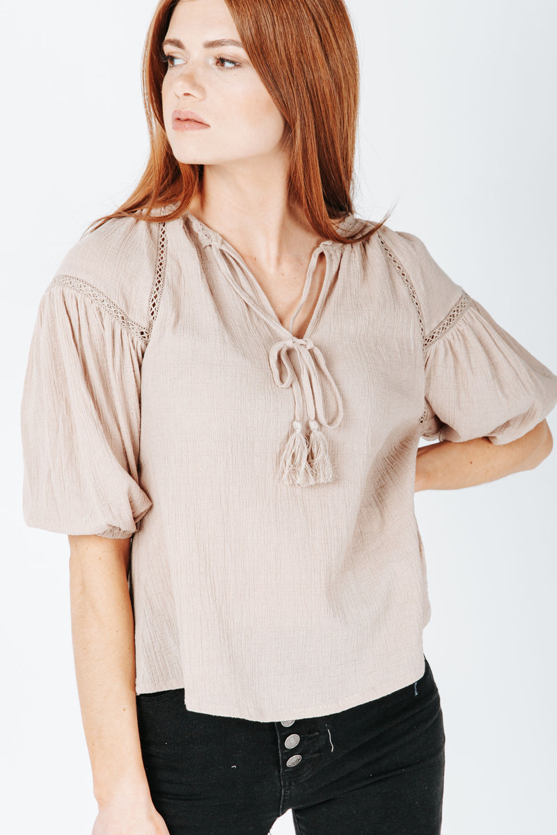 The Mare Lace Detail Blouse in Taupe, studio shoot; front view