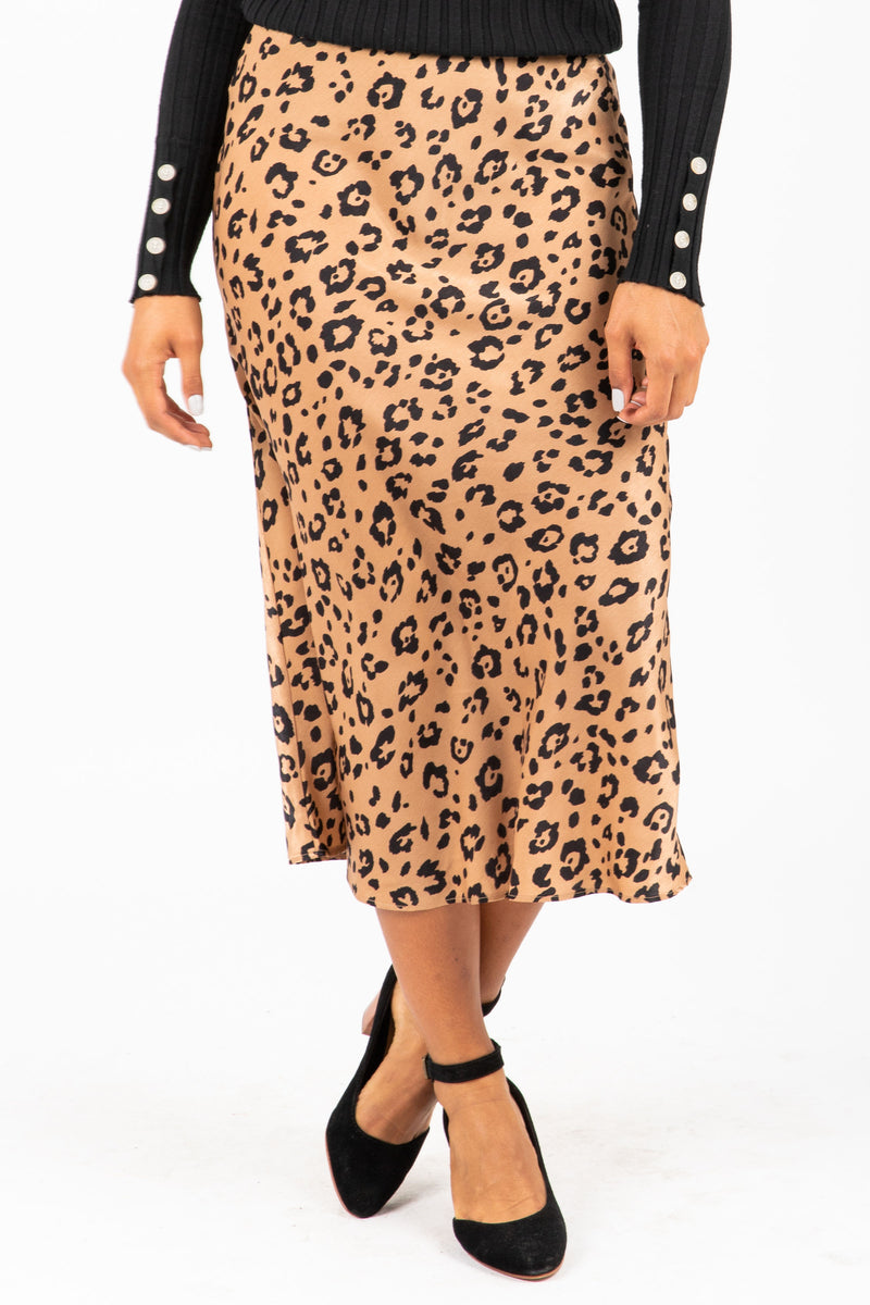 The Chord Silk Leopard Skirt in Taupe, studio shoot; front view