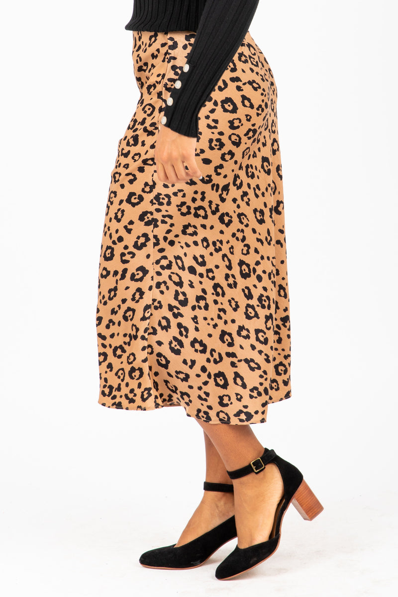 The Chord Silk Leopard Skirt in Taupe, studio shoot; side view