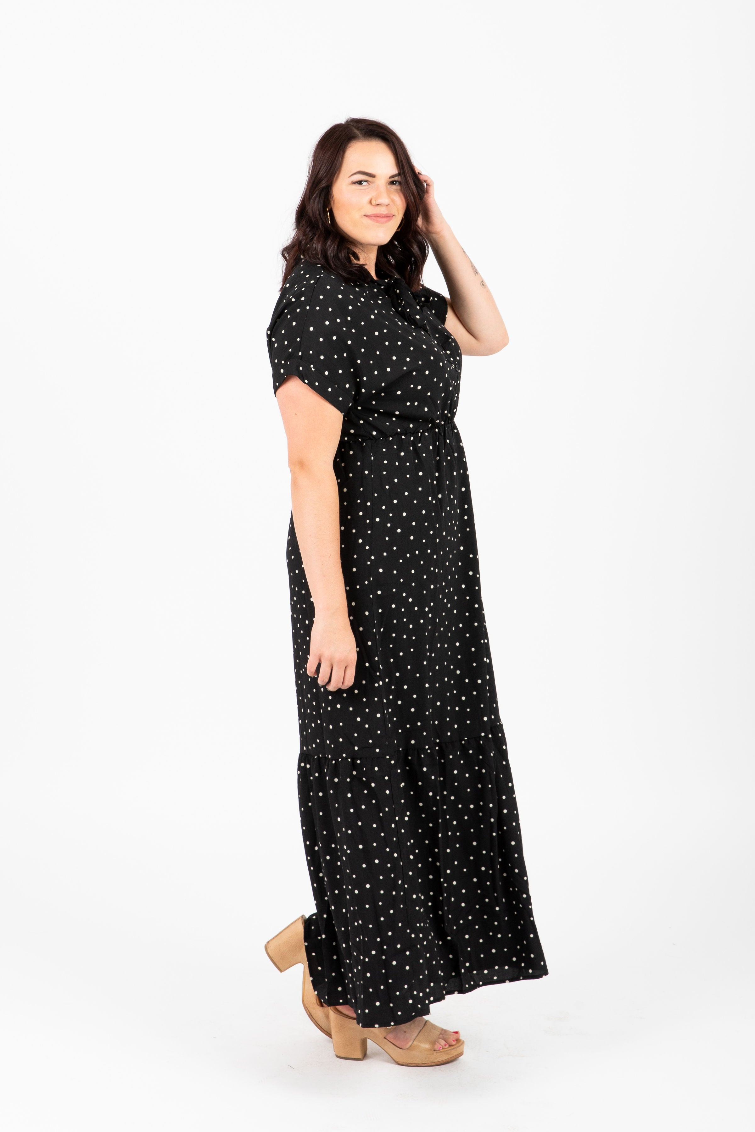 Piper & Scoot: The Lady Dot Tiered Dress in Black