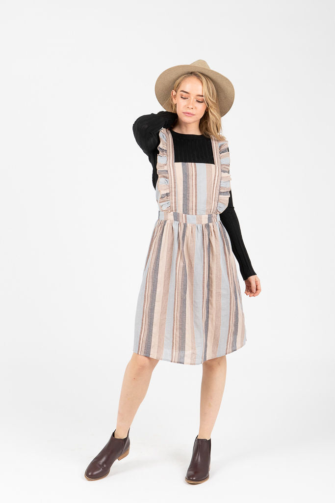 The Weeks Striped Ruffle Jumper Dress in Blue