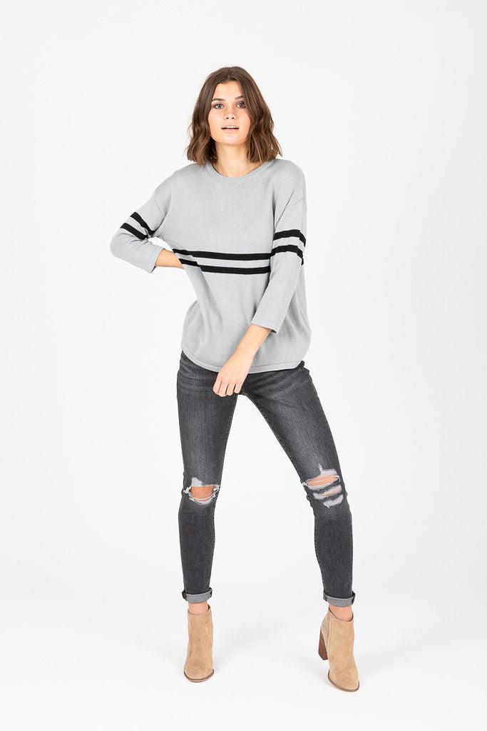 The Arnold Striped Casual Sweater in Grey