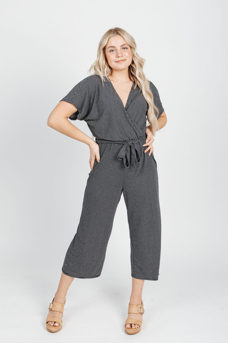 The Landers Striped Jumpsuit in Navy, studio shoot; front view