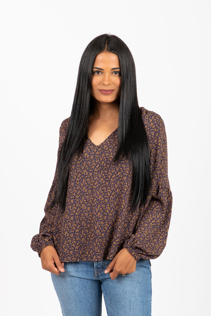 The Posie Floral Puff Sleeve Blouse in Navy
