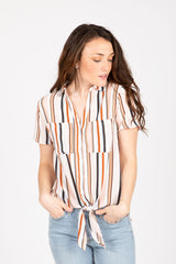 The Brulee Striped Tie Front Blouse in Blush