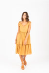 The Ted Colorblock Pleated Dress in Mustard