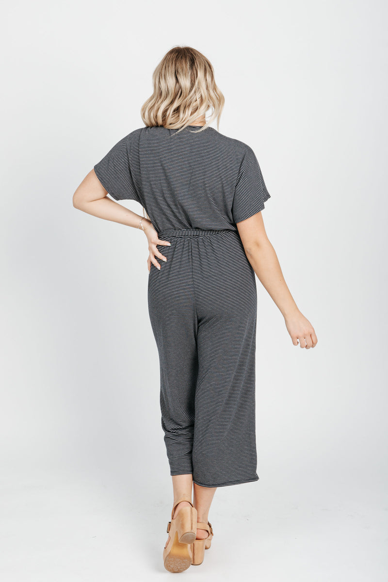 The Landers Striped Jumpsuit in Navy, studio shoot; back view