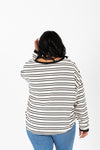 The Decker Striped Knit Sweater in White, studio shoot; back view