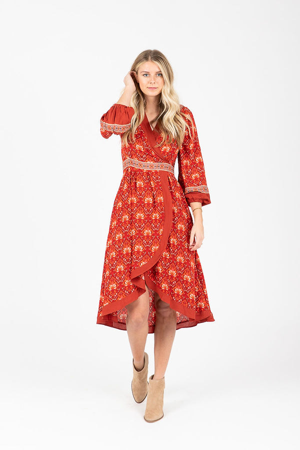 The Fostoria Patterned Dress in Poppy
