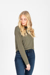 The Isla Mock Neck Blouse in Olive