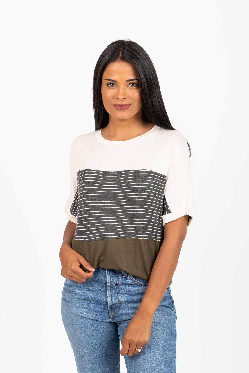 The Monday Striped Colorblock Tee in Olive