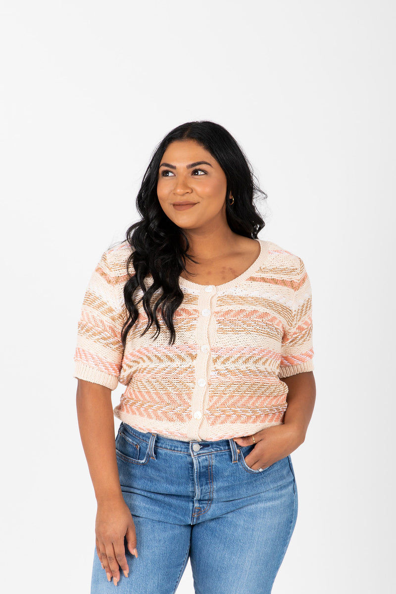The Omri Striped Button Knit in Oatmeal, studio shoot; front view