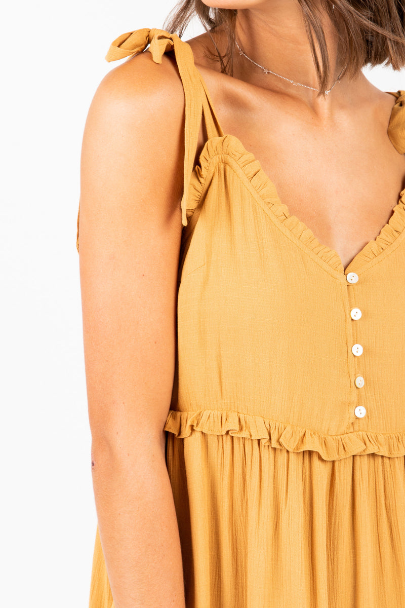 The Carroll Tiered Tank Dress in Mustard, studio shoot; front view