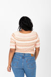 The Omri Striped Button Knit in Oatmeal, studio shoot; back view