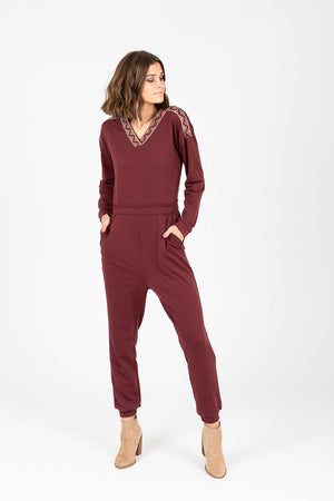 Piper & Scoot: The Soho Embroidered Jumpsuit in Burgundy