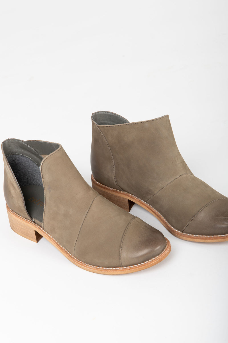 Crevo Footwear: Coralie Leather Pull On Bootie in Mink Gray