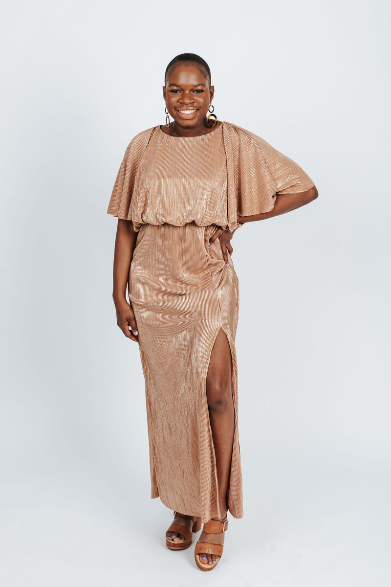 The Anastasia Shimmer Dress in Gold, studio shoot; front view