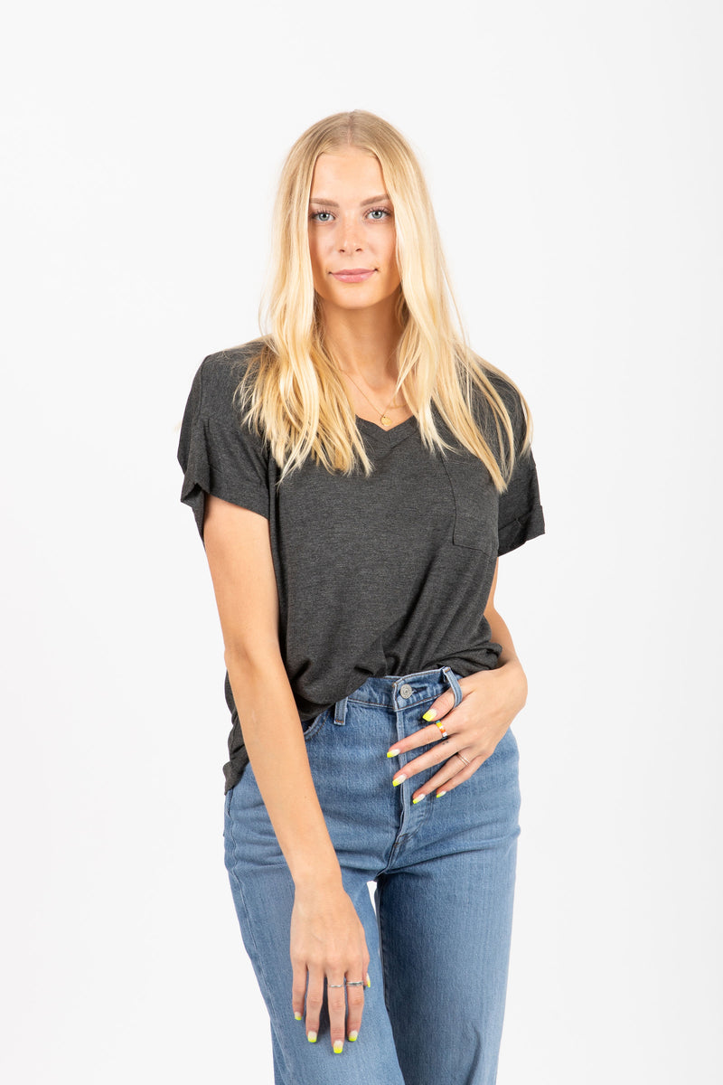 The Grin Pocket Blouse in Charcoal