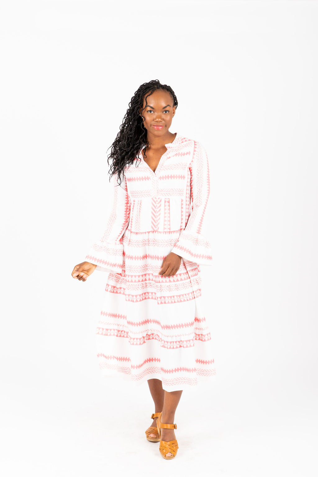 The Criss Patterned Button Dress in Rose + White