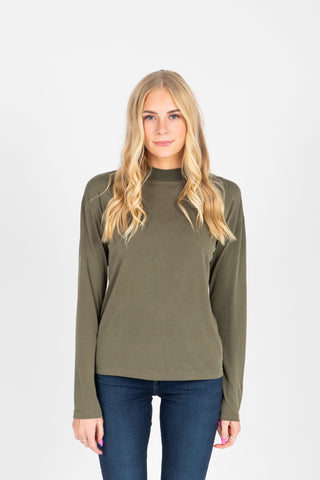 The Coast Easy Mock Neck Tee in Camel