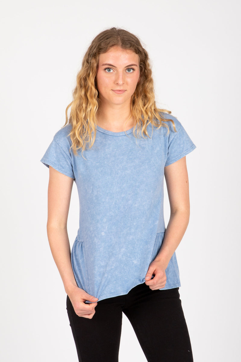 The Grain Washed Casual Peplum in Blue