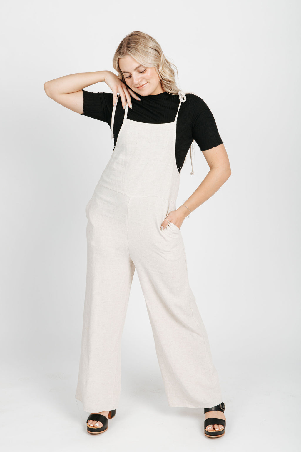 The Marla Tank Jumpsuit in Oatmeal, studio shoot; front view