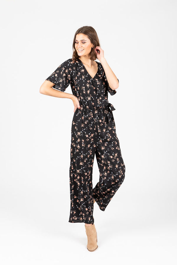 The Kenzie Tiny Floral Jumpsuit in Black