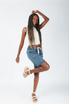The Hight Drawstring Short in Washed Blue, studio shoot; side view