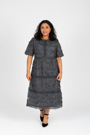 Piper & Scoot: The Ultimate Lace Detail Dress In Charcoal