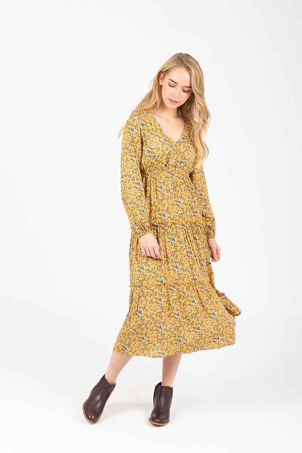 The Montgomery Floral Tiered Dress in Honey