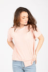 The Malt Raw Edged Crew Neck Blouse in Blush